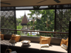Balcony area overlooking the gardens at the Fairmont Sanur