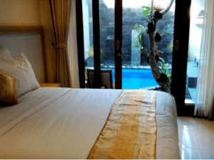Comfortable rooms with small pool at Nyaman Guest House