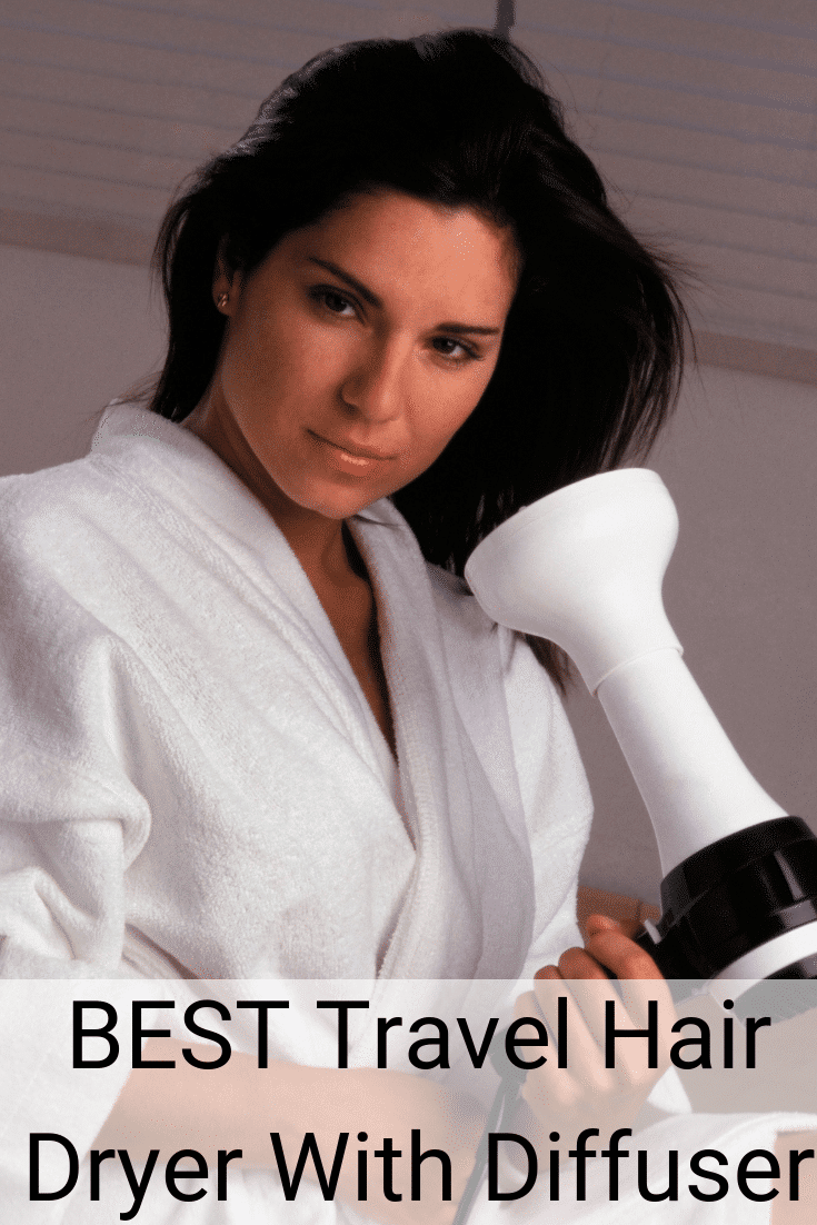 Woman ready to blow dry her hair with the Best Travel Hair Dryer With Diffuser